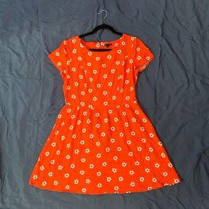 Gap orange and white flower sun dress size 8